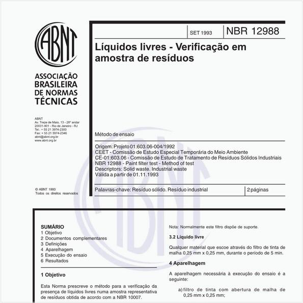 Líquidos livres - Verificação em amostra de resíduos - Método de ensaio