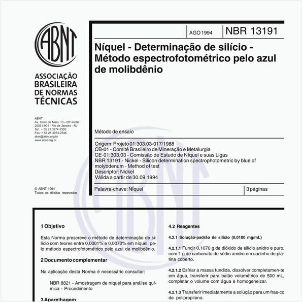 Níquel - Determinação de silício - Método espectrofotométrico pelo azul de molibdênio - Método de ensaio