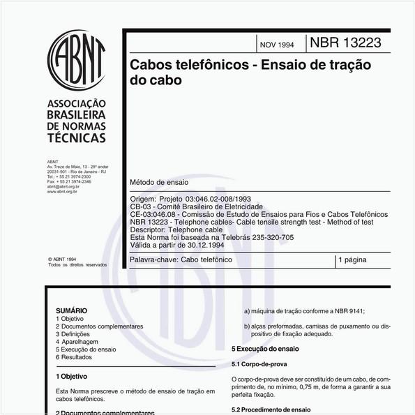 Cabos telefônicos - Ensaio de tração do cabo - Método de ensaio