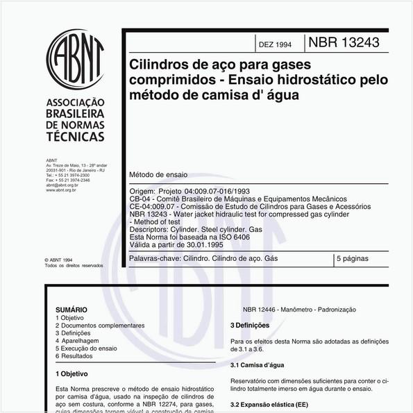 Cilindros de aço para gases comprimidos - Ensaio hidrostático pelo método de camisa d' água - Método de ensaio