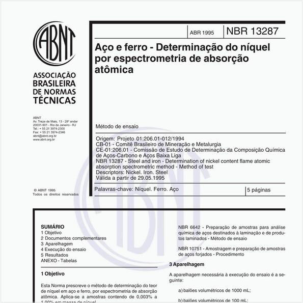 Aço e ferro - Determinação do níquel por espectrometria de absorção atômica - Método de ensaio