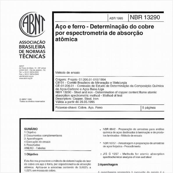 Aço e ferro - Determinação do cobre por espectrometria de absorção atômica - Método de ensaio