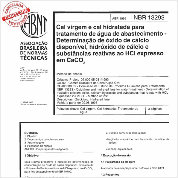 Cal virgem e cal hidratada para tratamento de água de abastecimento - Determinação de óxido de cálcio disponível, hidróxido de cálcio e substâncias reativas ao HCl expresso em CaCO3.