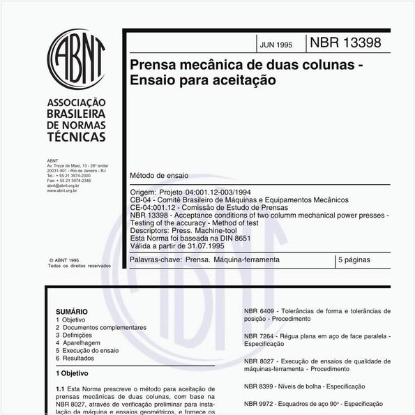 Prensa mecânica de duas colunas - Ensaio para aceitação - Método de ensaio