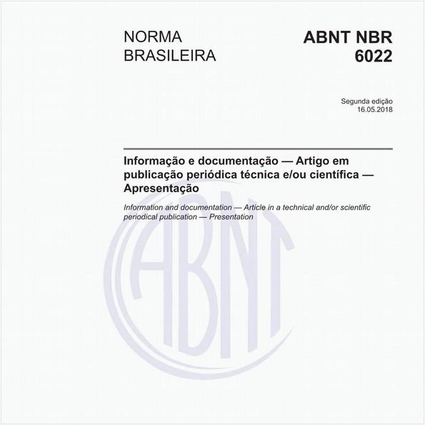 Informação e documentação - Artigo em publicação periódica técnica e/ou científica - Apresentação