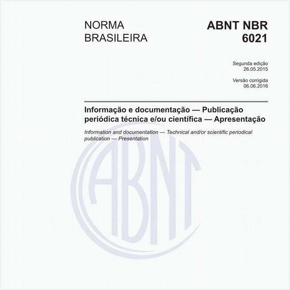 Informação e documentação — Publicação periódica técnica e/ou científica — Apresentação