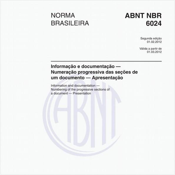 Informação e documentação — Numeração progressiva das seções de um documento — Apresentação