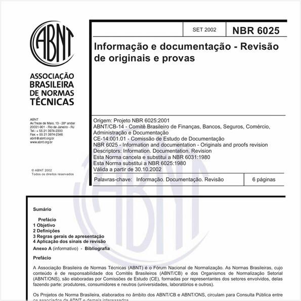 Informação e documentação - Revisão de originais e provas