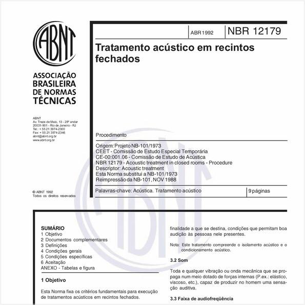 Tratamento acústico em recintos fechados - Procedimento