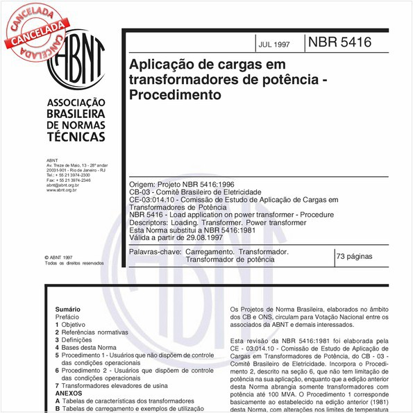 Aplicação de cargas em transformadores de potência - Procedimento