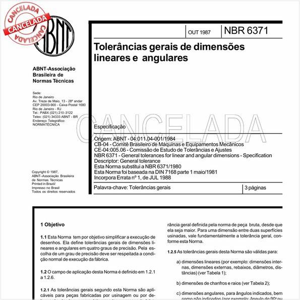 Tolerâncias gerais de dimensões lineares e angulares