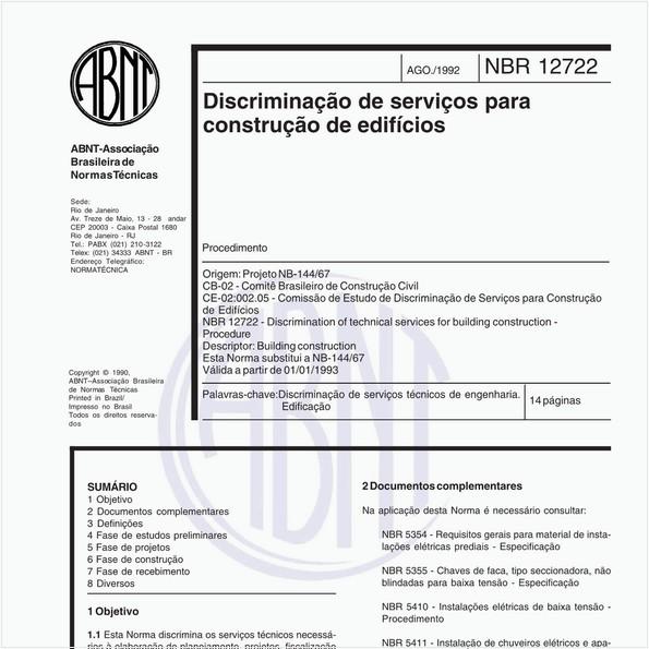 Discriminação de serviços para construção de edifícios - Procedimento