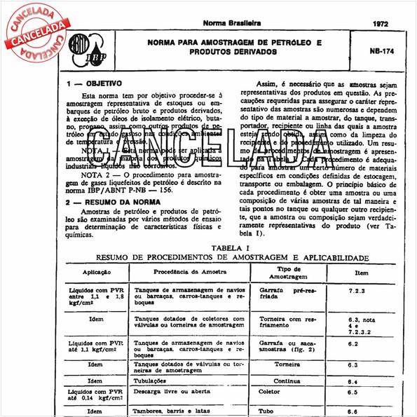 Norma pra amostragem de petróleo e produtos derivados