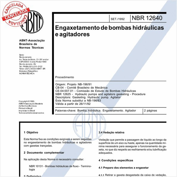 Engaxetamento de bombas hidráulicas e agitadores