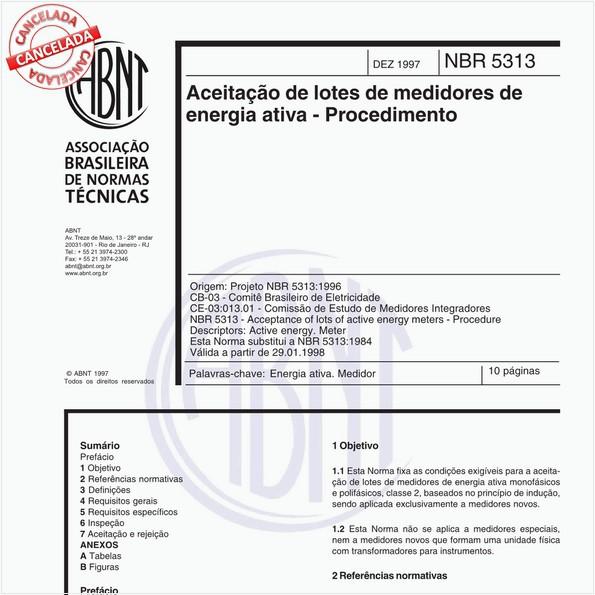 Aceitação de lotes de medidores de energia ativa - Procedimento