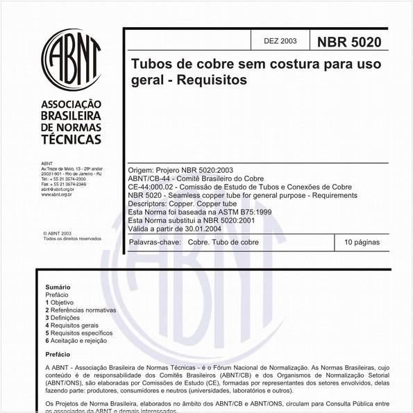 Tubos de cobre sem costura para uso geral - Requisitos