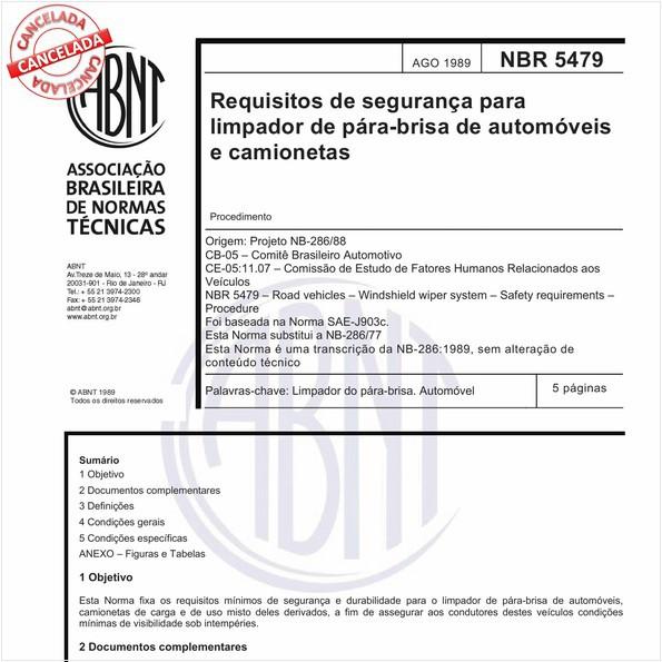 Requisitos de segurança para limpador do pára-brisa de automóveis e camionetas