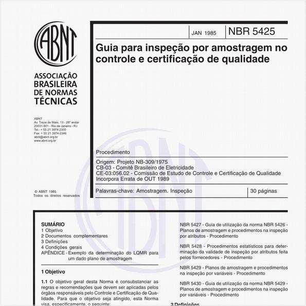 Guia para inspeção por amostragem no controle e certificação de qualidade