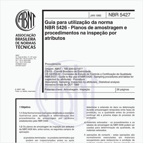 Guia para utilização da norma NB 309-01 - Planos de amostragem e procedimentos na inspeção por atributos