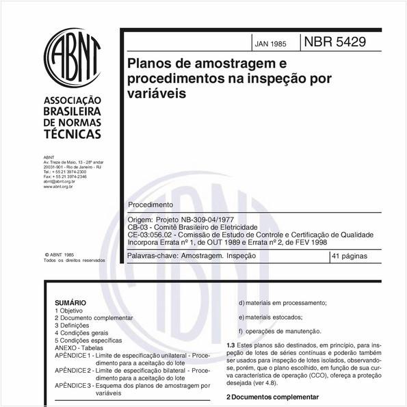 Planos de amostragerm e procedimentos na inspeção por variáveis