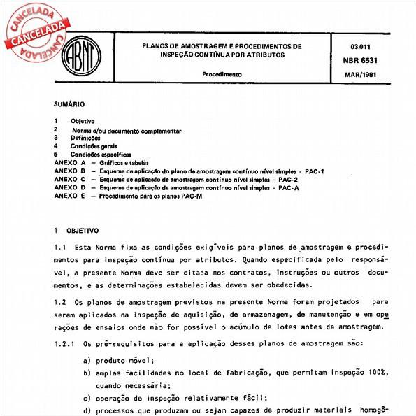Planos de amostragem e procedimentos de inspeção contínua por atributos