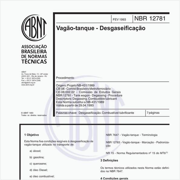 Vagão-tanque - Desgaseificação - Procedimento