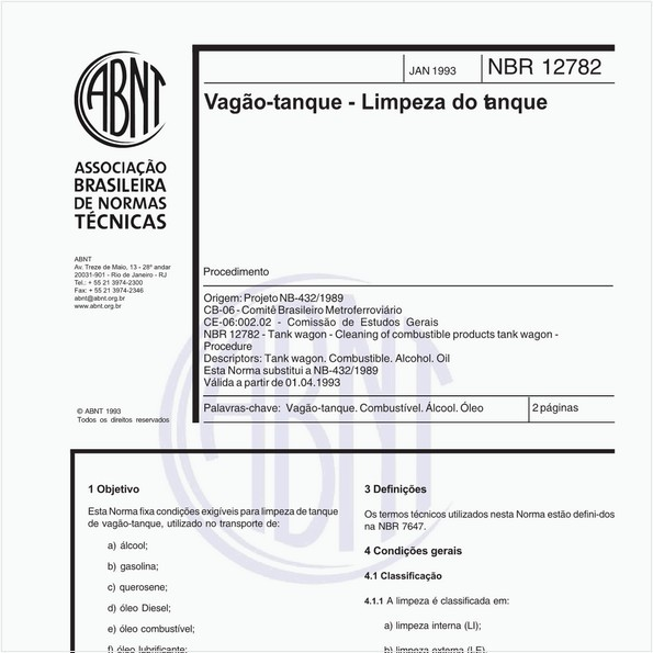 Vagão-tanque - Limpeza do tanque - Procedimento