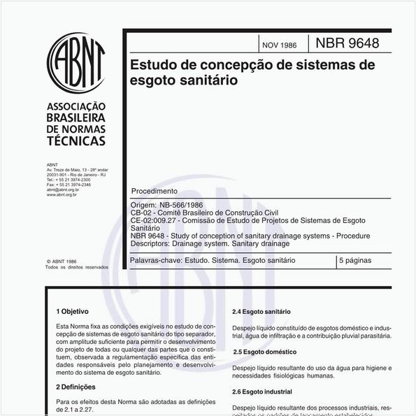 Estudo de concepção de sistemas de esgoto sanitário - Procedimento