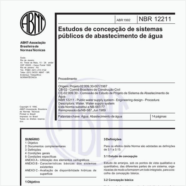 Estudos de concepção de sistemas públicos de abastecimento de água - Procedimento