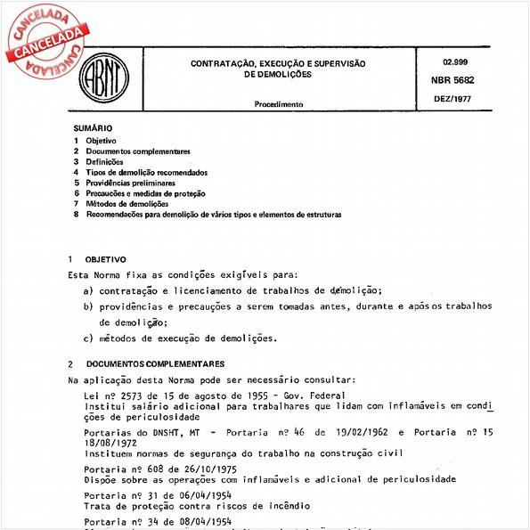 Contratação, execução e supervisão de demolições
