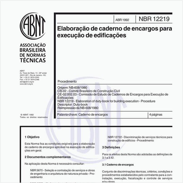 Elaboração de caderno de encargos para execução de edificações - Procedimento
