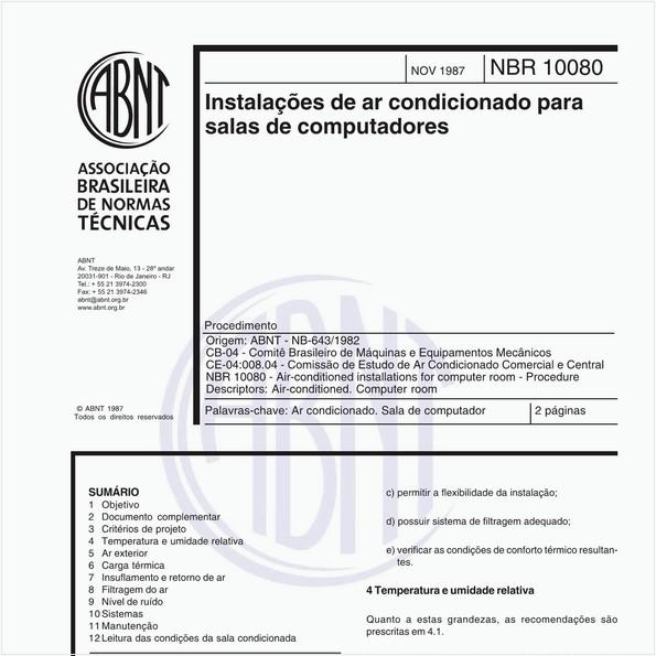 Instalações de ar-condicionado para salas de computadores - Procedimento