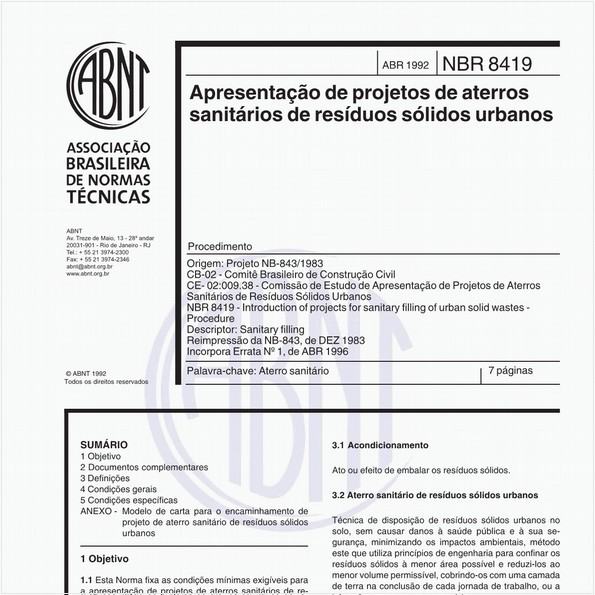 Apresentação de projetos de ateros sanitários de resíduos sólidos urbanos - Procedimento