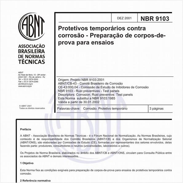 Protetivos temporários contra corrosão - Preparação de corpos-de-prova para ensaios
