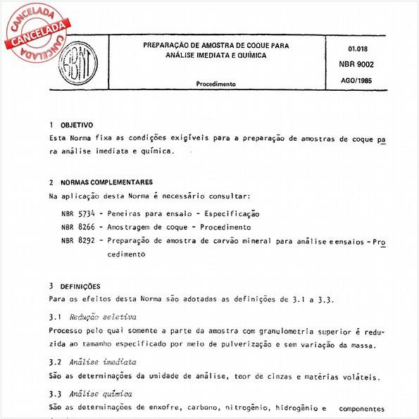 Preparação de amostra de coque para análise imediata e química