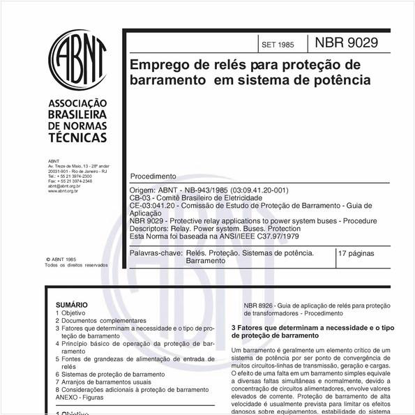 Emprego de relés para proteção de barramento em sistema de potência - Procedimento