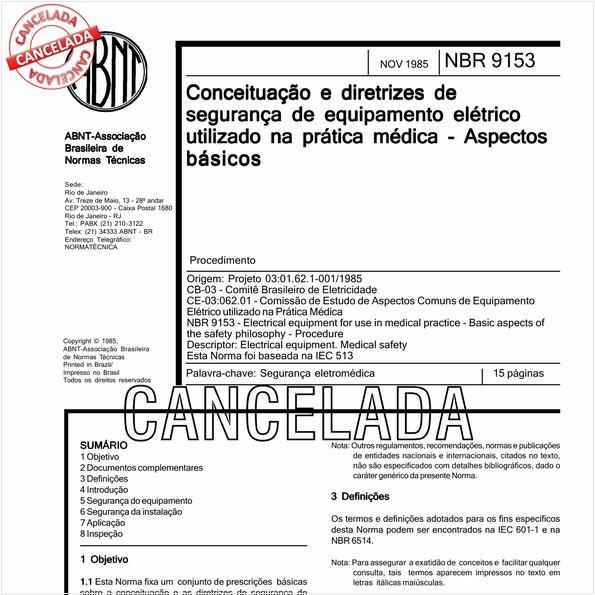 Conceituação e diretrizes de segurança de equipamento elétrico utilizado na prática médica - Aspectos básicos