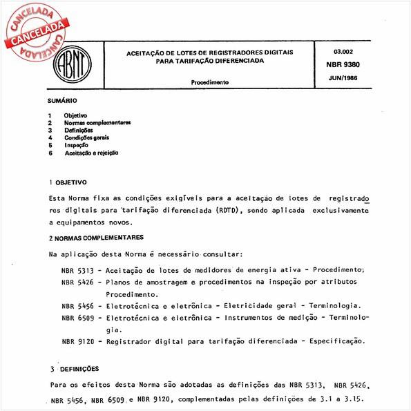 Aceitação de lotes de registradores digitais para tarifação diferenciada