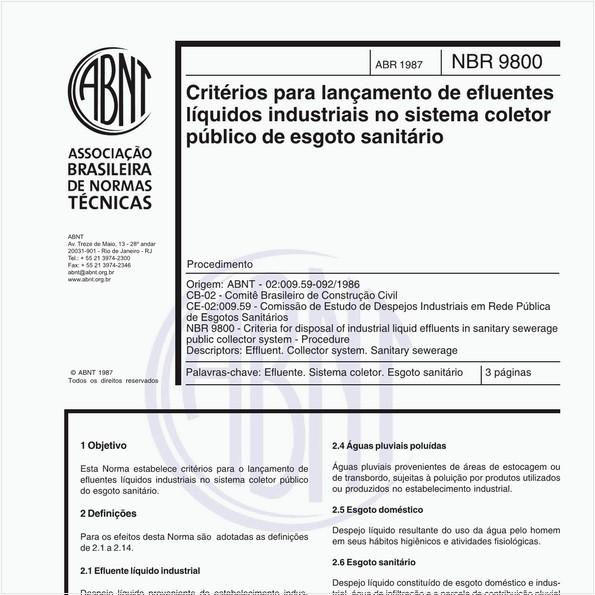 Critérios para lançamento de efluentes líquidos industriais no sistema coletor público de esgoto sanitário - Procedimento
