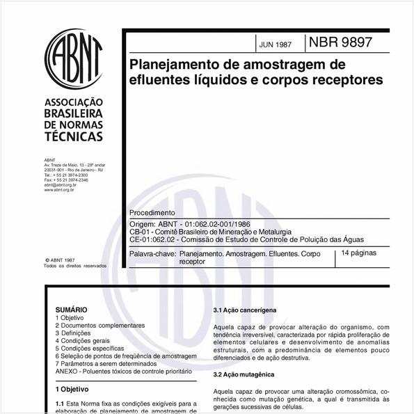 Planejamento de amostragem de efluentes líquidos e corpos receptores - Procedimento