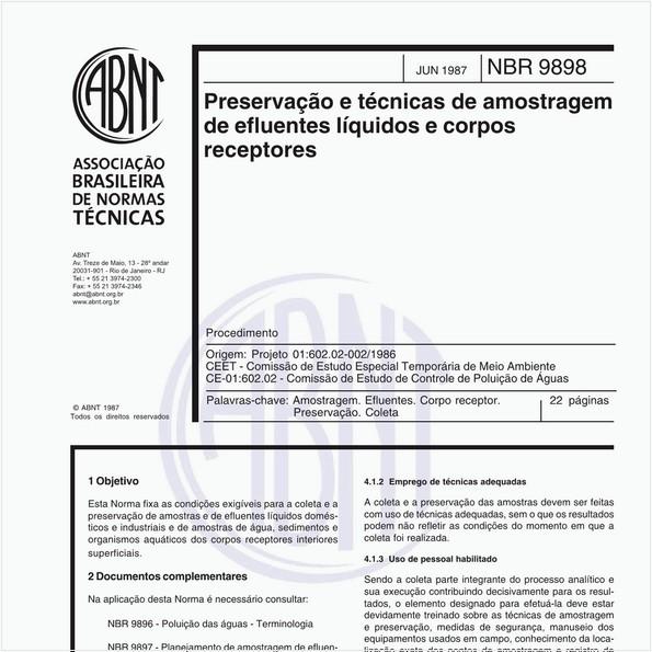 Preservação e técnicas de amostragem de afluente líquidos e corpos receptores - Procedimento
