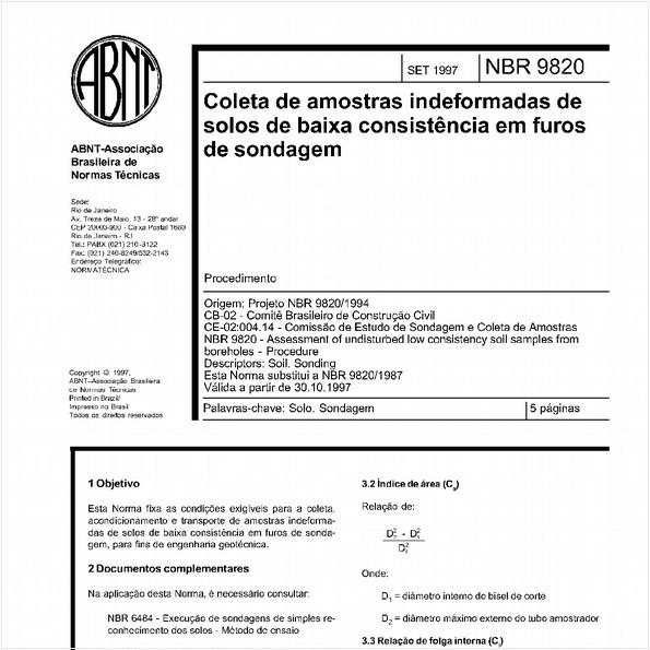 Coleta de amostras indeformadas de solos de baixa consitência em furos de sondagem - Procedimento