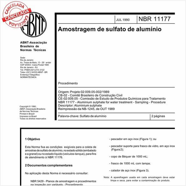 Amostragem de sulfato de alumínio