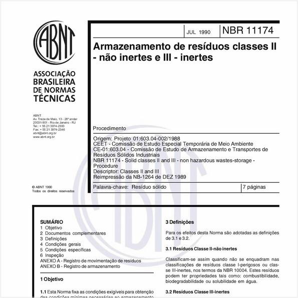 Armazenamento de resíduos classes II - não inertes e III - inertes - Procedimento