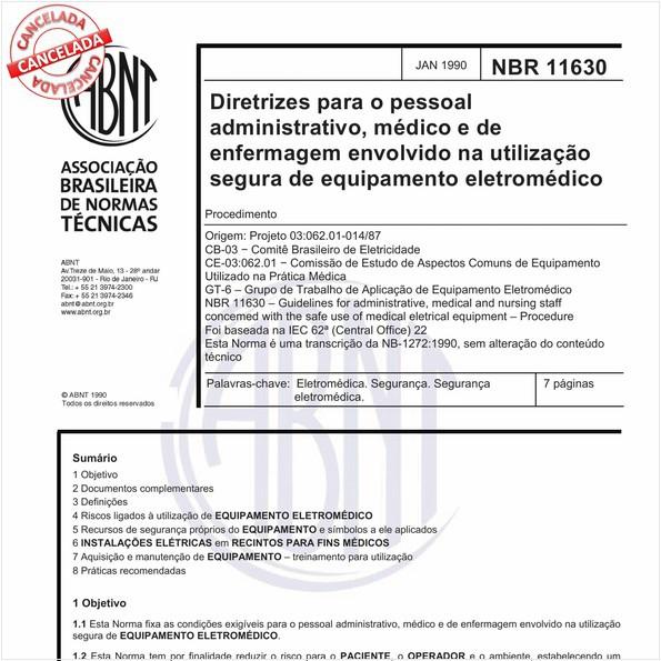 Diretrizes para o pessoal administrativo, médico e de enfermagem envolvido na utilização segura de equipamento eletromédico