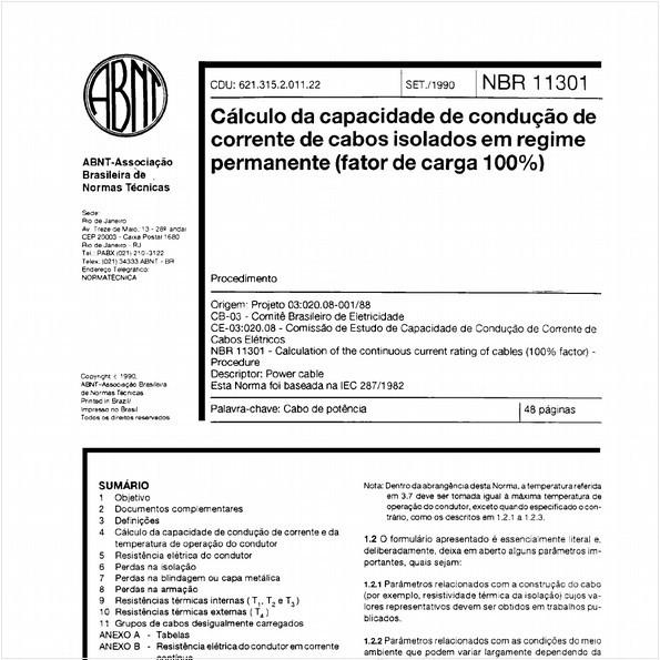 Cálculo da capacidade de condução de corrente de cabos isolados em regime permanente (fator de carga 100%) - Procedimento