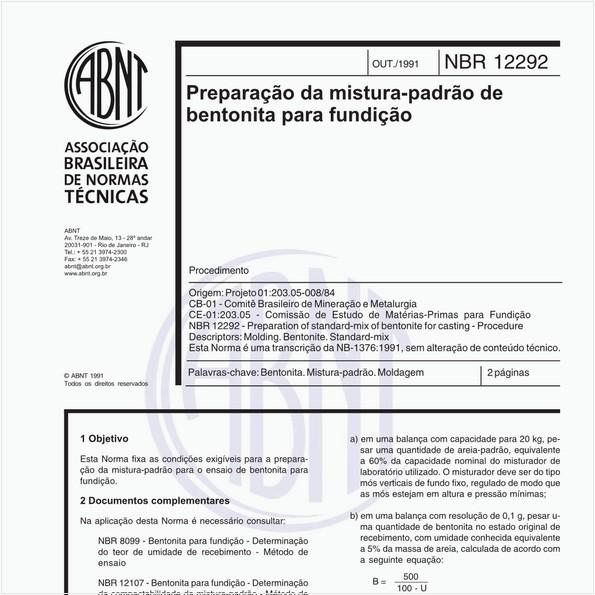 Preparação da mistura-padrão de bentonita para fundição - Procedimento