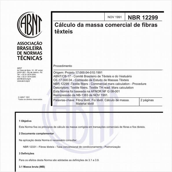 Cálculo da massa comercial de fibras têxteis - Procedimento