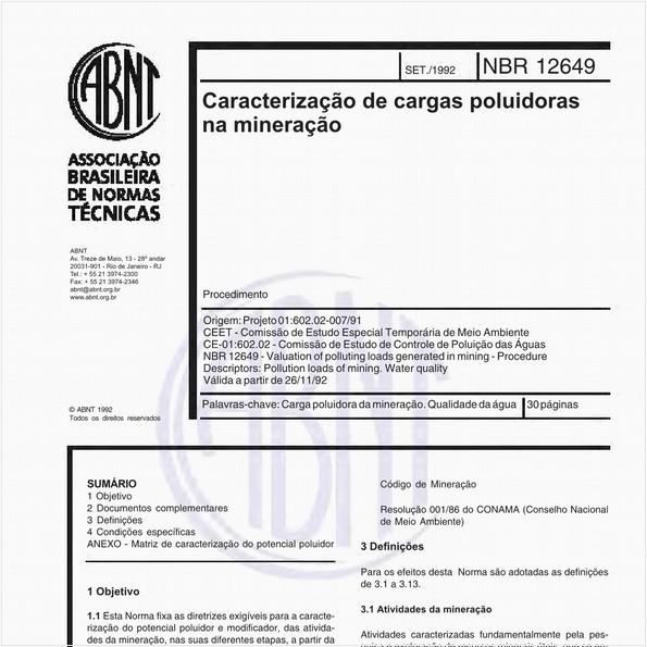 Caracterização de cargas poluidoras na mineração - Procedimento