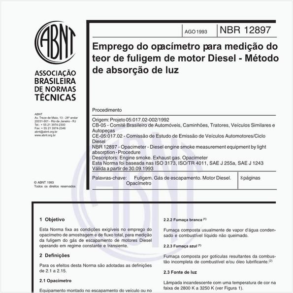 Emprego do opacímetro para medicação do teor de fuligem de motor Diesel - Método de absorção de luz - Procedimento